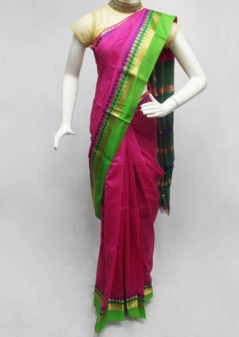 Pink with Green Silk Cotton Saree - FR27771 ARRS Silks