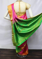 Pink With Green Soft Silk Saree - FU45173 ARRS Silks