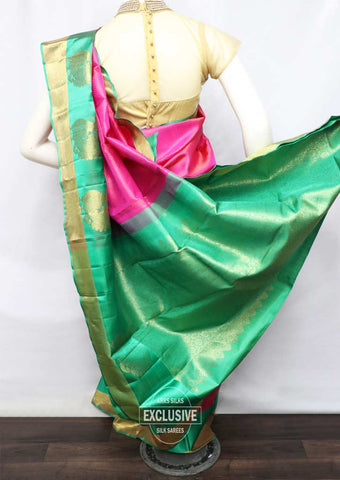 Pink With Green Wedding Silk Saree - FR126392 ARRS Silks