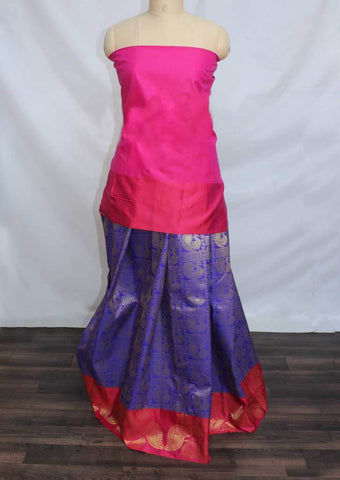 Pink With Ink Blue Coloured Pattu Pavadai Material - FP4364 (Size:  13Yrs to 18Yrs) ARRS Silks Salem