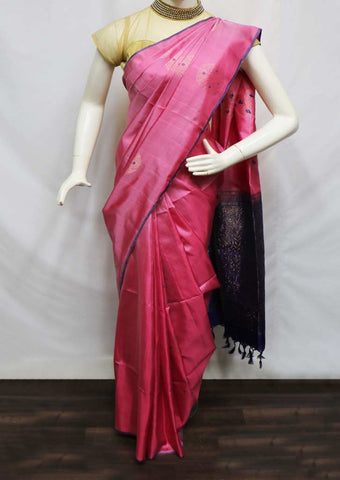 Pink With Ink Blue Soft Silk Saree - GA42018 ARRS Silks