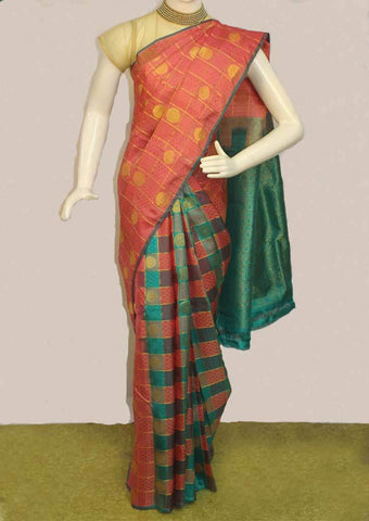Pink with Light Green Checked Kanchipuram Silk Saree- FF73736 ARRS Silks