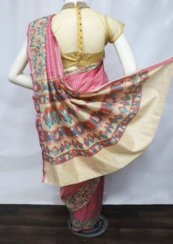 Pink with Light Sandal Manipuri Cotton Sarees - FV20354 ARRS Silks