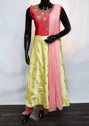 Pink With Light Yellow Readymade Salwar- NCT71238 ARRS Silks