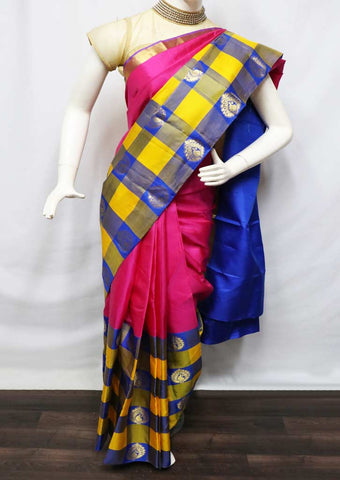 Pink With Multi Color Kanchipuram Silk Saree - 9KA2493 ARRS Silks
