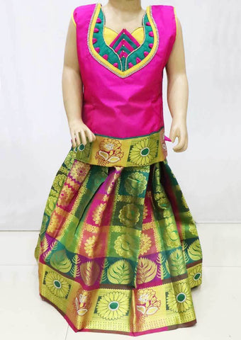 Pink with Multi color Pattu Pavadai - FU3372  (Size : 4 Years ) ARRS Silks
