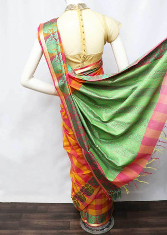 Pink with Orange Checked Silk Cotton Saree - FO2057 ARRS Silks