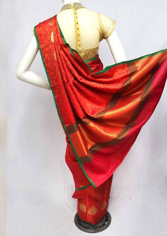Pink with Orange Organza Cotton Sarees- FQ135721 ARRS Silks