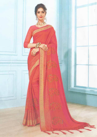 Pink with Orange shade Fancy Saree-FS7573 ARRS Silks