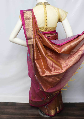 Pink with Orange shade Silk Cotton Saree - FU12145 ARRS Silks