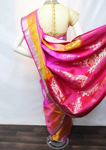 Pink with Orange Shade Soft Silk Saree - FU45171 ARRS Silks