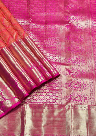 Pink with Orange Shade Wedding Silk Saree - FQ102796 ARRS Silks