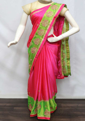 Pink With Parrot Green Designer Saree - GC43057 ARRS Silks