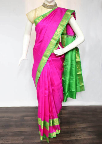 Pink with Parrot Green Kanchipuram Silk Saree -FF16102 ARRS Silks