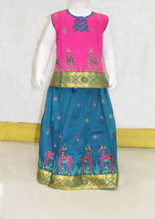 Pink With Peacock Blue Pattu Pavadai -FO21222 ARRS Silks