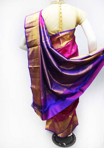Pink with Purple Kanchipuram Silk Saree - FQ22783 ARRS Silks