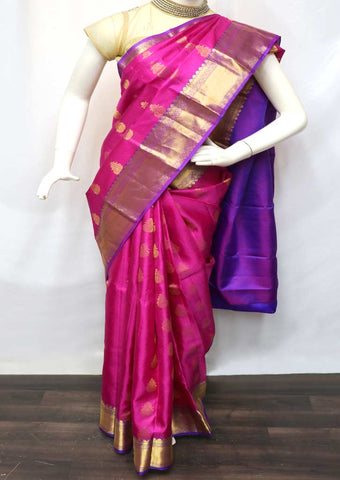 Pink With Purple Kanchipuram Silk Saree - GE60091 ARRS Silks