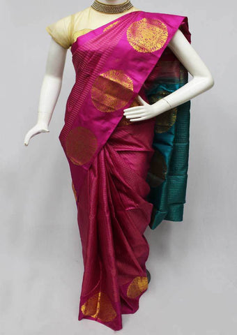 Pink with Ramar Green Kanchipuram Silk Saree-FQ22719 ARRS Silks