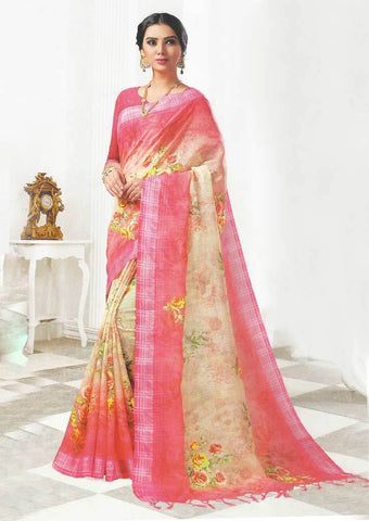 Pink with Sandal Color Linen Saree - FO97704 ARRS Silks