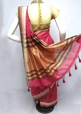 Pink with Sandal Fancy saree - FQ135878 ARRS Silks