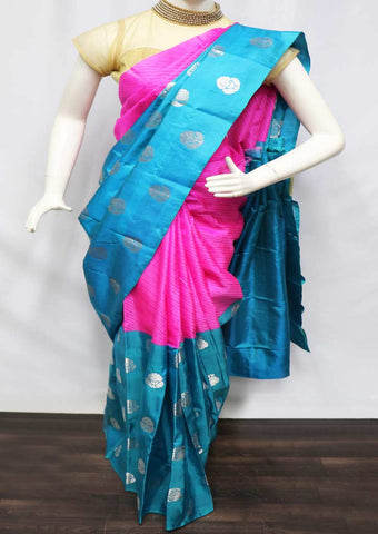 Pink With Sky Blue Kanchipuram Silk Saree - FU16329 ARRS Silks