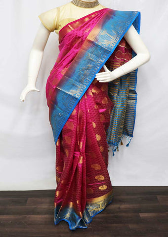Pink With Sky Blue Semi Raw Silk Saree - HBN0003 ARRS Silks