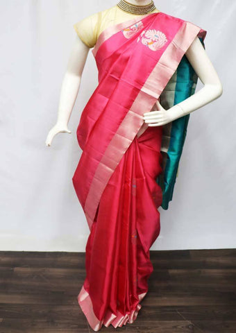 Pink with Sky Blue Soft Silk Saree - FU45274 ARRS Silks