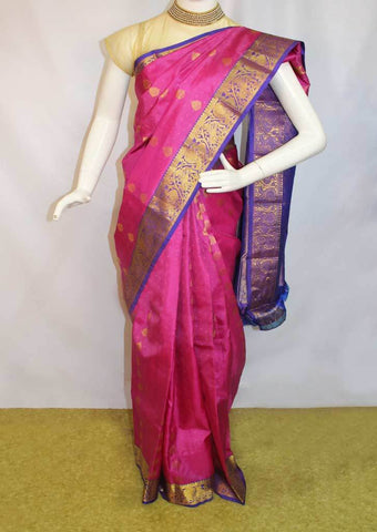 Pink With Violet  Kanchipuram Silk Saree-FI16673 ARRS Silks