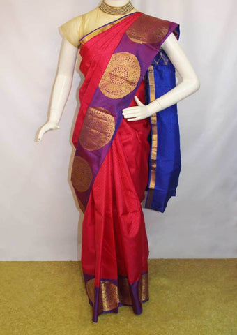Pink With Violet  Kanchipuram Silk Saree-FJ18981 ARRS Silks