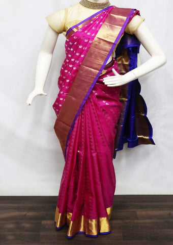 Pink With Violet Kanchipuram Silk Saree - FQ111573 ARRS Silks