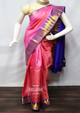 Pink With Violet Kanchipuram Silk Saree - FR62357 ARRS Silks