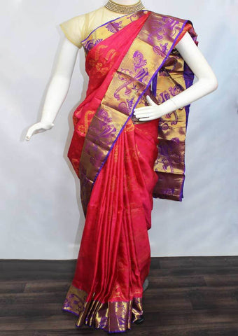 Pink with Violet Semi Silk Saree- FH173 ARRS Silks
