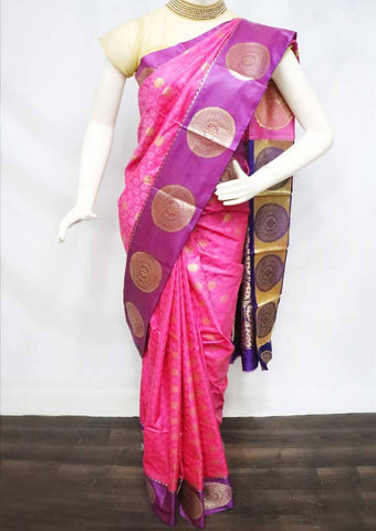Pink with Violet Semi Silk Saree - FU1610 ARRS Silks