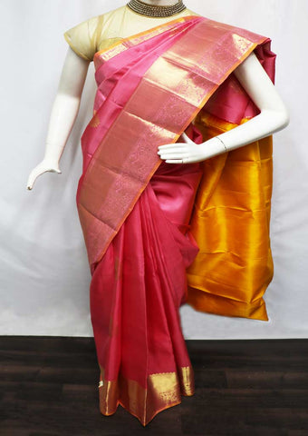 Pink With Yellow Kanchipuram Silk Saree - GF10273 ARRS Silks