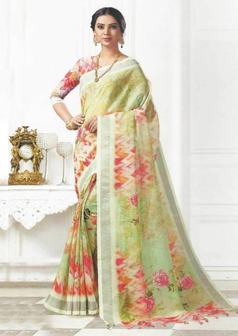 Pista Green Color Linen Saree - FO97660 ARRS Silks