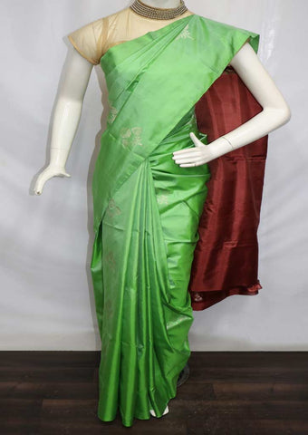 Pista Green with Brown Soft Silk Saree - FL87446 ARRS Silks