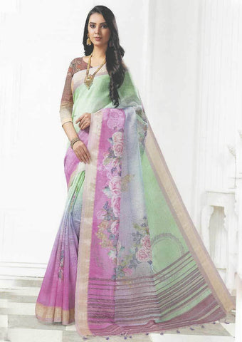 Pista Green with Light Purple Color Linen Saree - FO97673 ARRS Silks