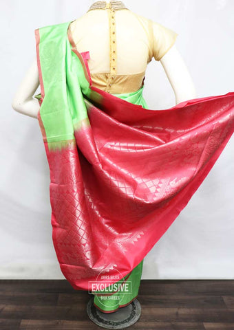 Pista Green With Pink Kanchipuram Silk Saree - FQ38447 ARRS Silks