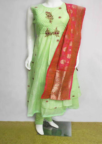 Pista Green With Pink Readymade Salwar-FN44041 ARRS Silks