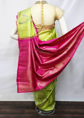 Pista Green With Pink Soft Silk Saree - EZ11290 ARRS Silks