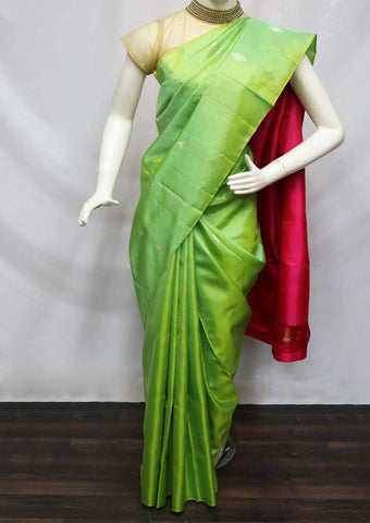 Pista Green With Pink Soft Silk Saree - FQ111136 ARRS Silks
