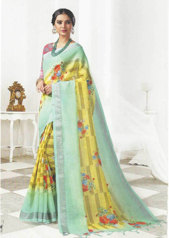 Pista Green with Yellow Color Linen Saree - FO97717 ARRS Silks