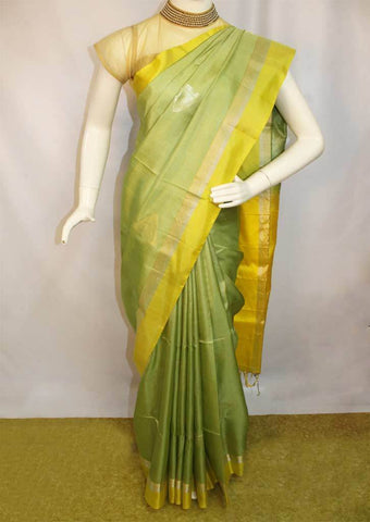 Pista Green With Yellow Soft Silk Saree -FL84118 ARRS Silks