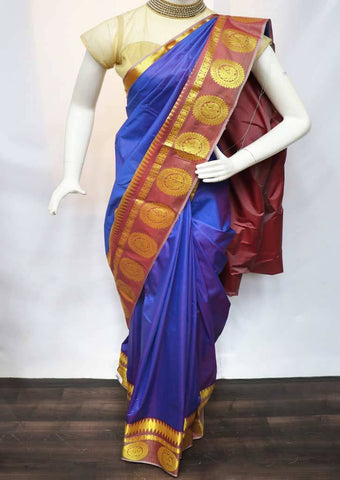 Purple and Violet Shade with Peach Semi Silk Saree - FR98482 ARRS Silks