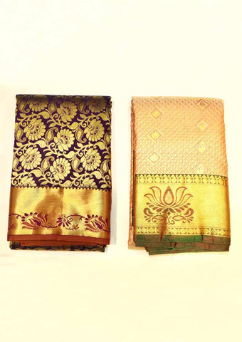 Purple & Peach Semi Silk Saree  - GE63268, FU33994 ARRS Silks