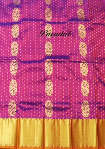 Purple With Golden Shade Pure silk Unstitched pattu pavadai - FF17485( Age-3 year to 6 years) ARRS Silks