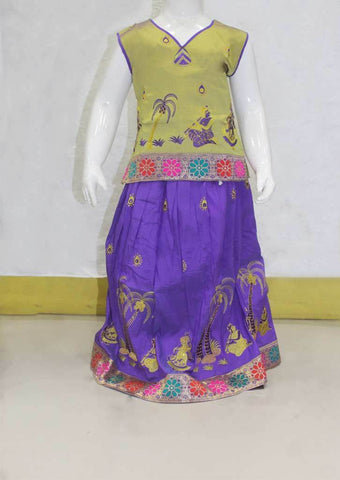 Purple with Green Pattu Pavadai - FN24281 (Size:Age 1 to 7yrs) ARRS Silks