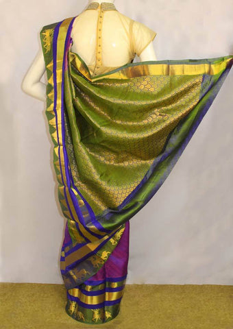 Purple with Light Green Kanchipuram Silk Saree - FN7788 ARRS Silks