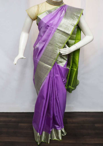 Purple with Parrot Green Soft Silk Saree - FU45228 ARRS Silks