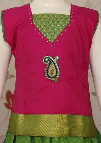 Pink with Green Art Silk Pavadai